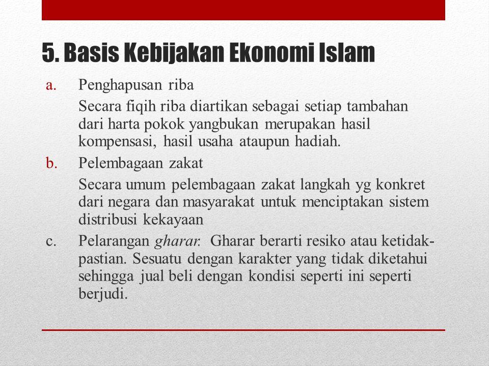 5. Basis Kebijakan Ekonomi Islam