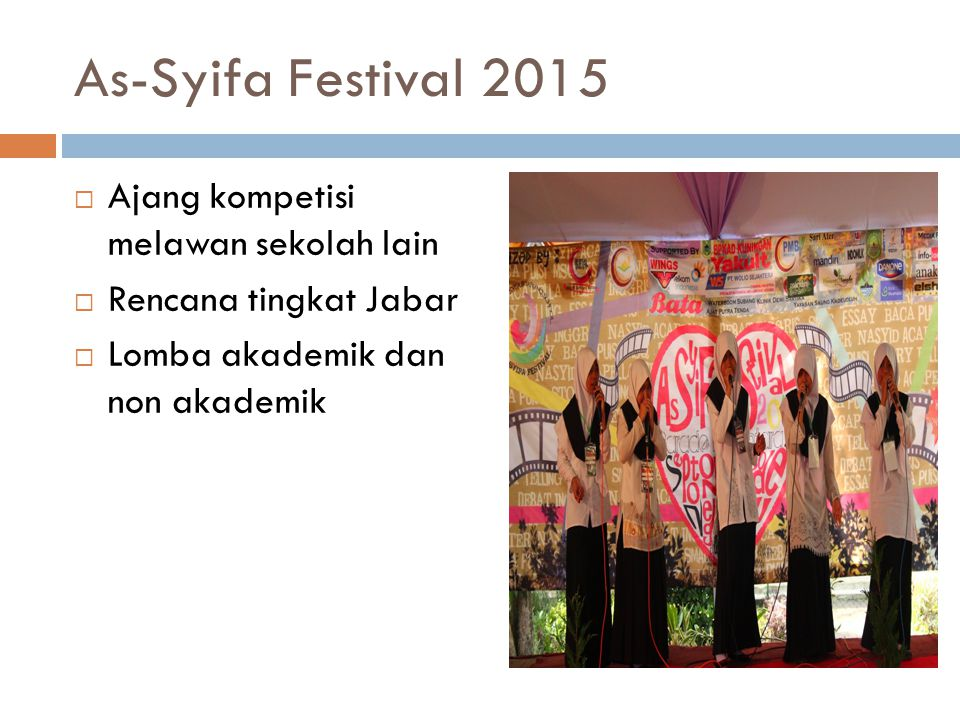 As-Syifa Festival 2015 Ajang kompetisi melawan sekolah lain