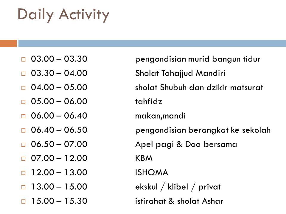 Daily Activity 03.00 – 03.30 pengondisian murid bangun tidur