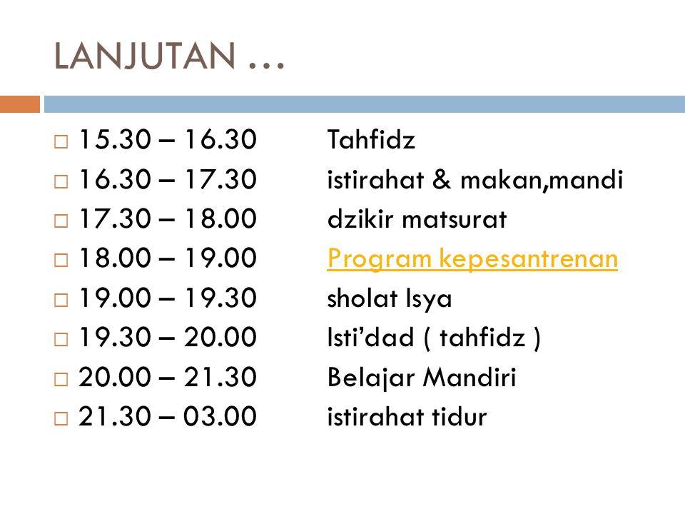 LANJUTAN … 15.30 – 16.30 Tahfidz 16.30 – 17.30 istirahat & makan,mandi