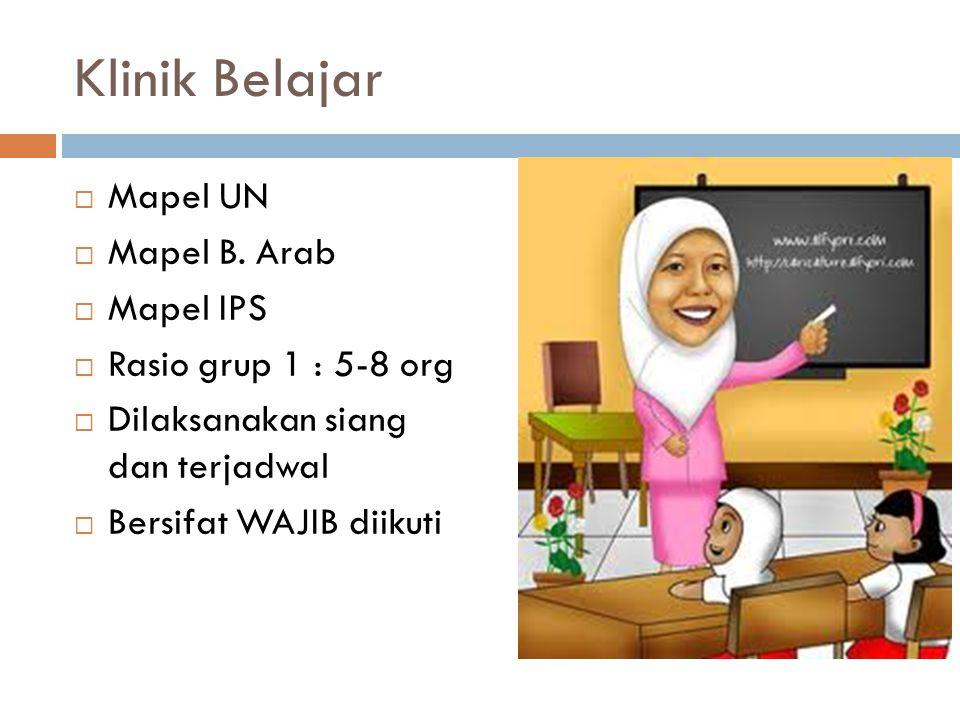 Klinik Belajar Mapel UN Mapel B. Arab Mapel IPS Rasio grup 1 : 5-8 org