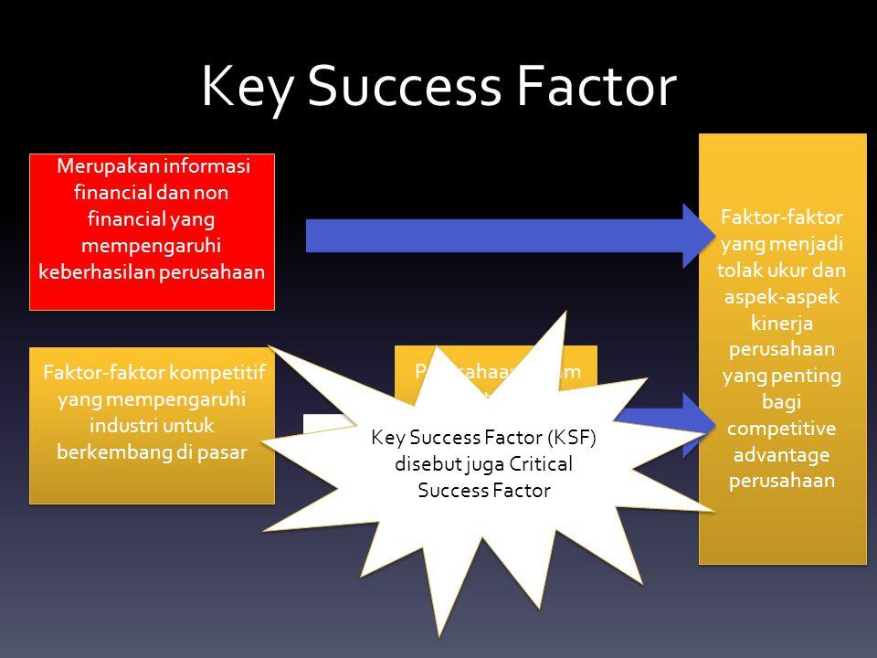 Key Success Factor Faktor-faktor yang menjadi tolak ukur dan aspek-aspek kinerja perusahaan yang penting bagi competitive advantage perusahaan.