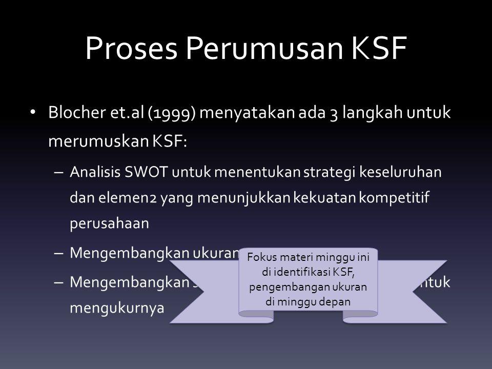 Proses Perumusan KSF Blocher et.al (1999) menyatakan ada 3 langkah untuk merumuskan KSF: