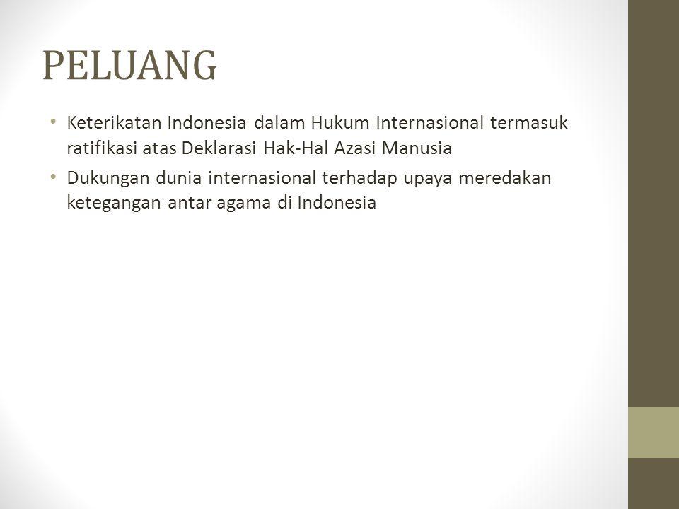 PELUANG Keterikatan Indonesia dalam Hukum Internasional termasuk ratifikasi atas Deklarasi Hak-Hal Azasi Manusia.