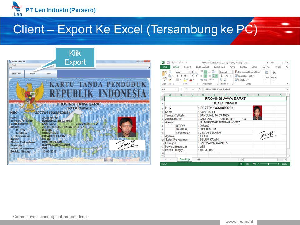 Client – Export Ke Excel (Tersambung ke PC)