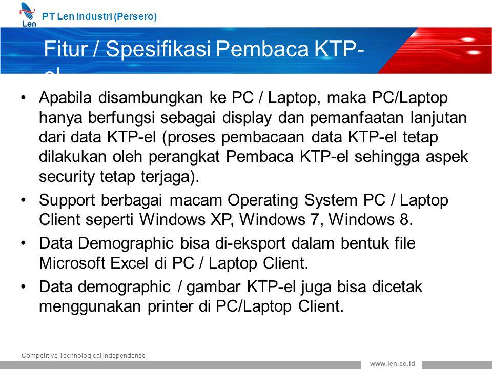 Fitur / Spesifikasi Pembaca KTP-el