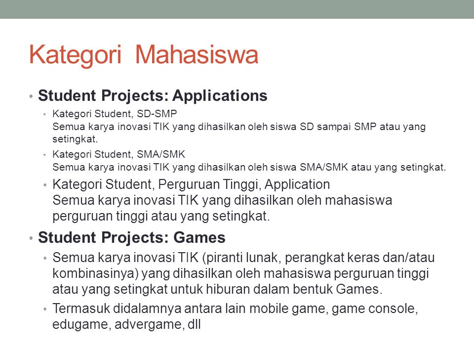 Kategori Mahasiswa Student Projects: Applications