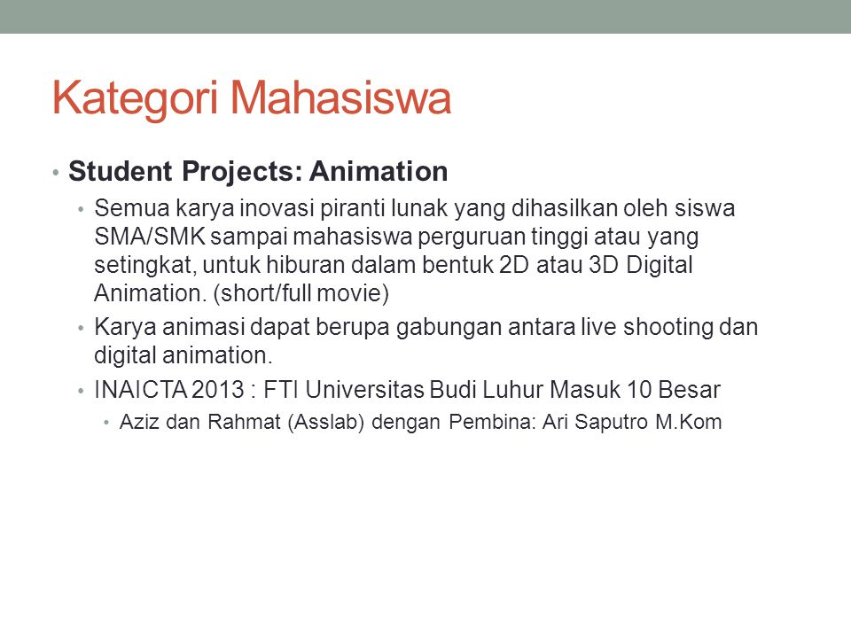 Kategori Mahasiswa Student Projects: Animation
