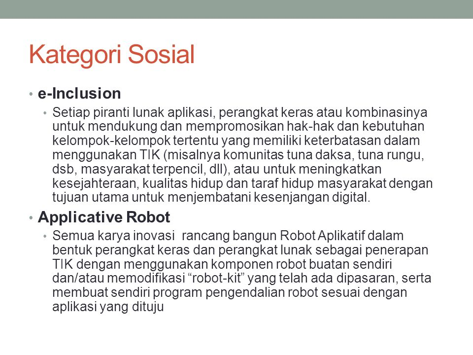 Kategori Sosial e-Inclusion Applicative Robot