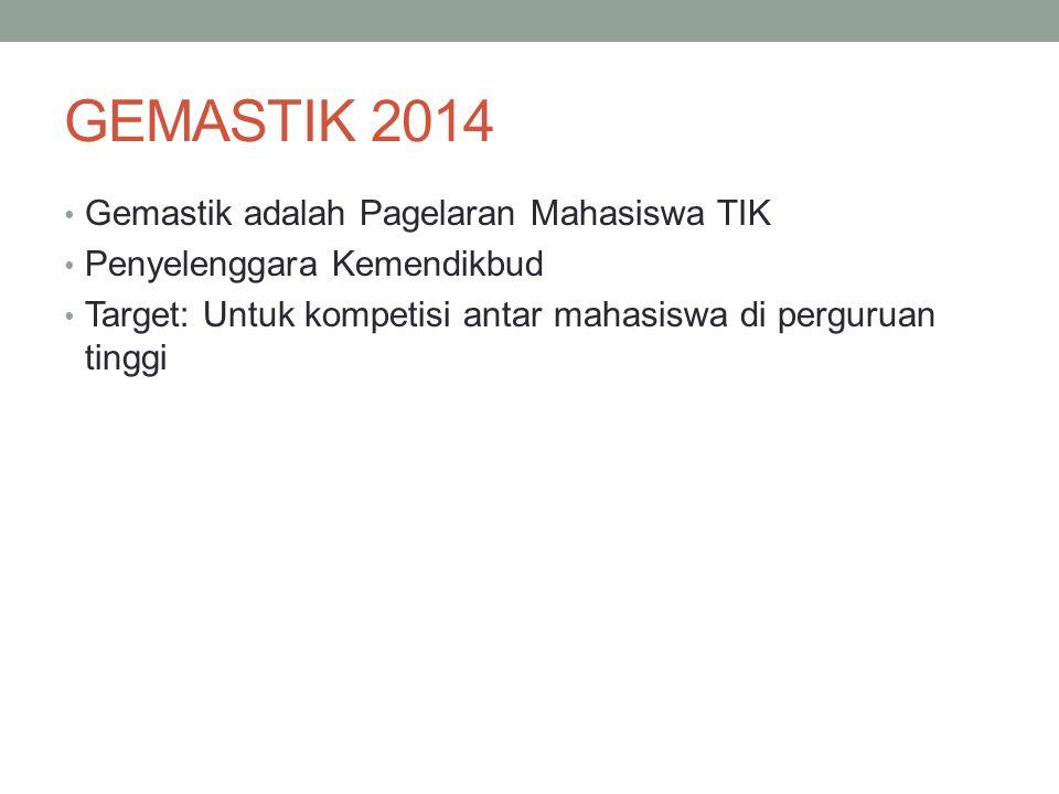 GEMASTIK 2014 Gemastik adalah Pagelaran Mahasiswa TIK