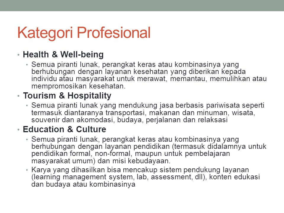 Kategori Profesional Health & Well-being Tourism & Hospitality