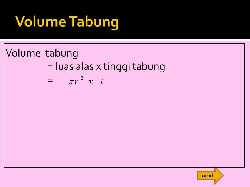 Volume Tabung Volume tabung = luas alas x tinggi tabung = next
