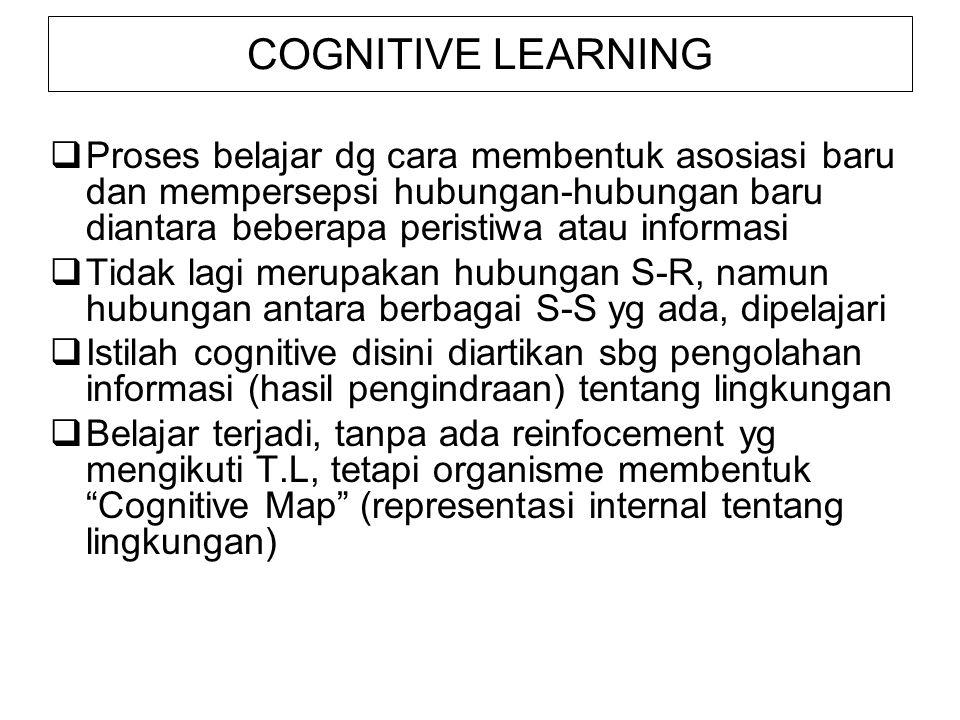 COGNITIVE LEARNING Proses belajar dg cara membentuk asosiasi baru dan mempersepsi hubungan-hubungan baru diantara beberapa peristiwa atau informasi.