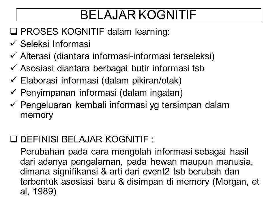 BELAJAR KOGNITIF PROSES KOGNITIF dalam learning: Seleksi Informasi