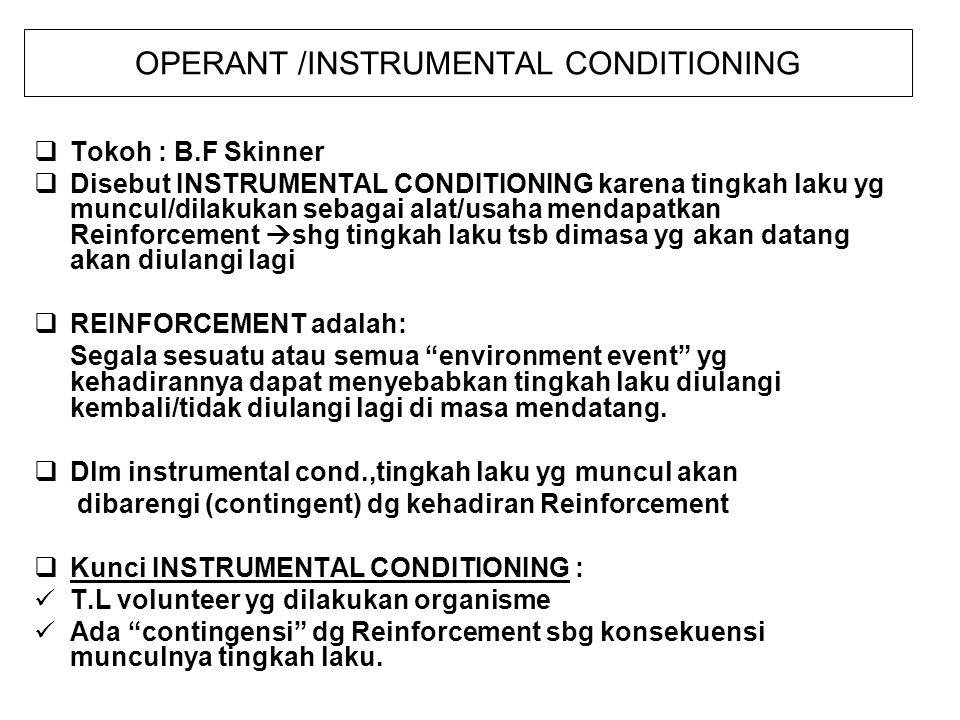 OPERANT /INSTRUMENTAL CONDITIONING