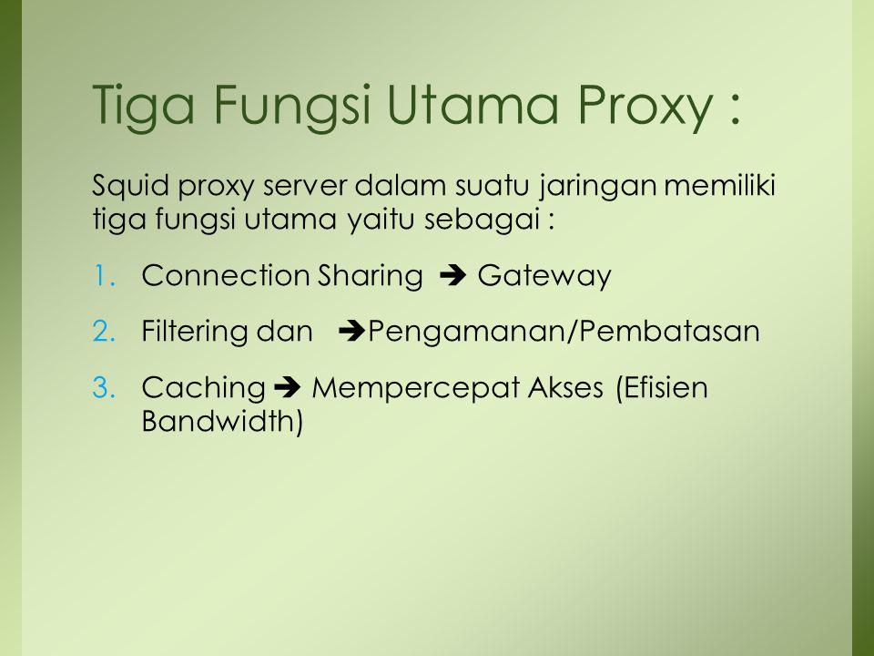 Tiga Fungsi Utama Proxy :