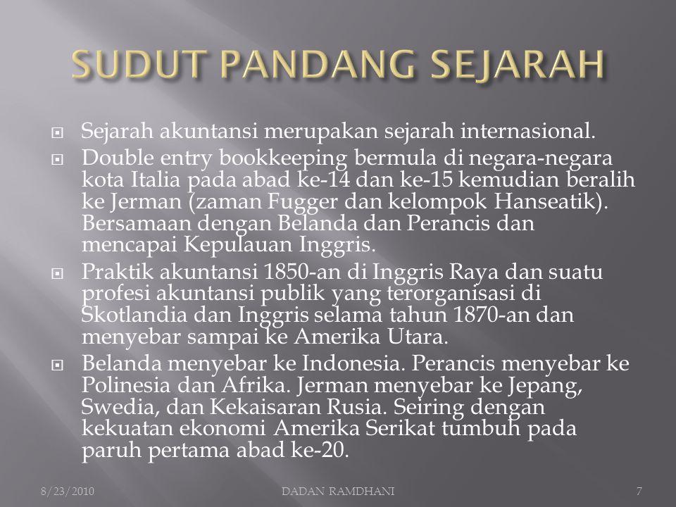 SUDUT PANDANG SEJARAH Sejarah akuntansi merupakan sejarah internasional.