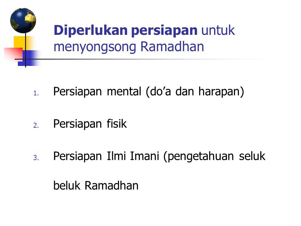 Diperlukan persiapan untuk menyongsong Ramadhan