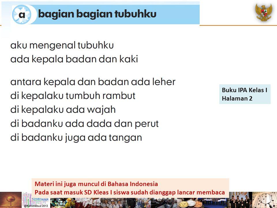 Buku IPA Kelas I Halaman 2. Materi ini juga muncul di Bahasa Indonesia.