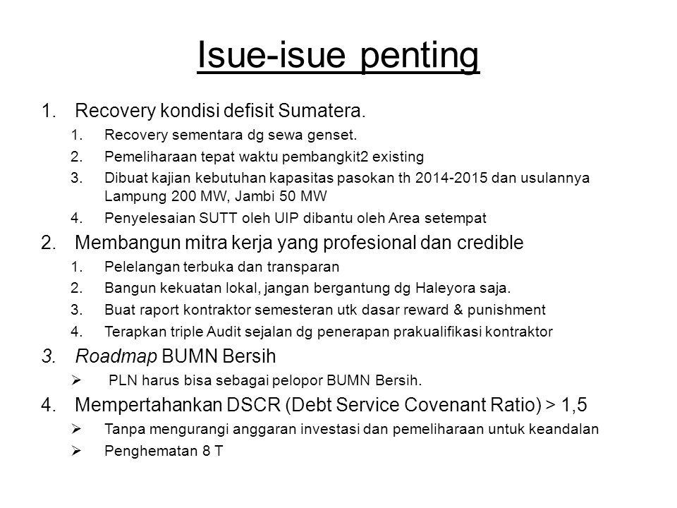 Isue-isue penting Recovery kondisi defisit Sumatera.