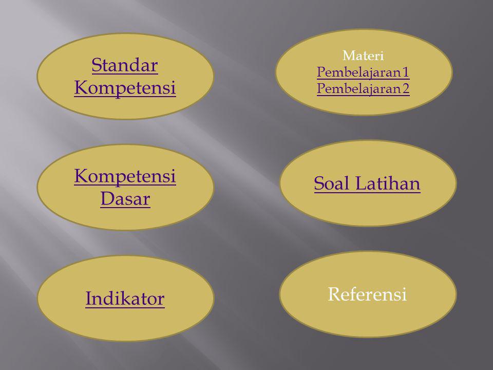 Standar Kompetensi Kompetensi Dasar Soal Latihan Referensi Indikator
