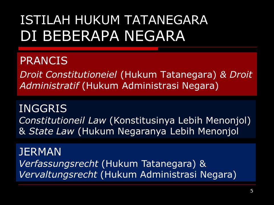 ISTILAH HUKUM TATANEGARA DI BEBERAPA NEGARA