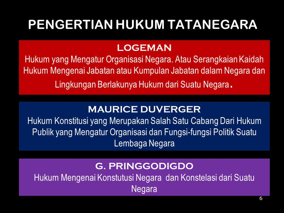 PENGERTIAN HUKUM TATANEGARA