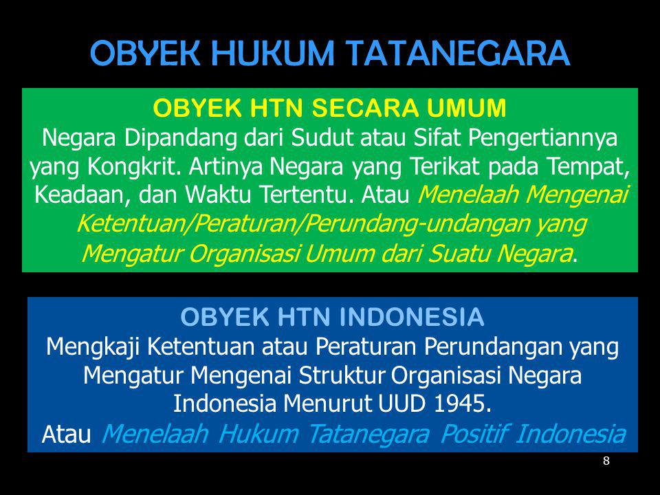 OBYEK HUKUM TATANEGARA