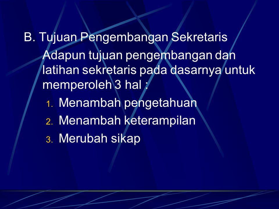 B. Tujuan Pengembangan Sekretaris