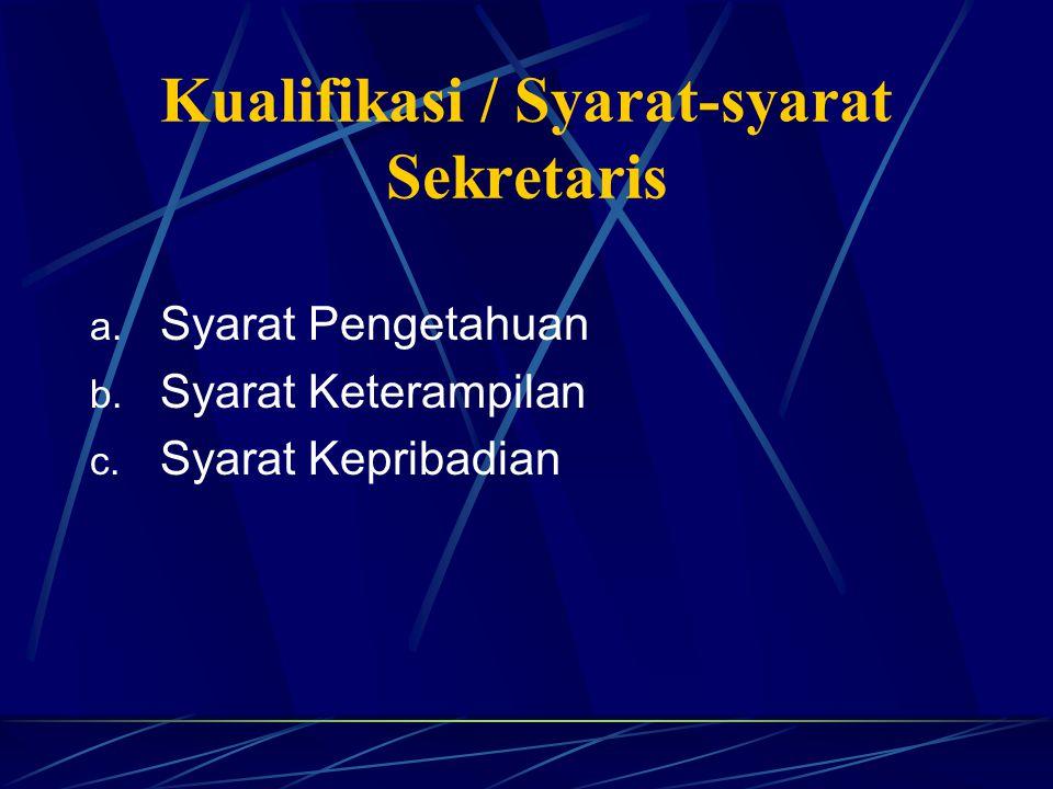 Kualifikasi / Syarat-syarat Sekretaris