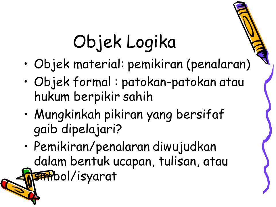Objek Logika Objek material: pemikiran (penalaran)