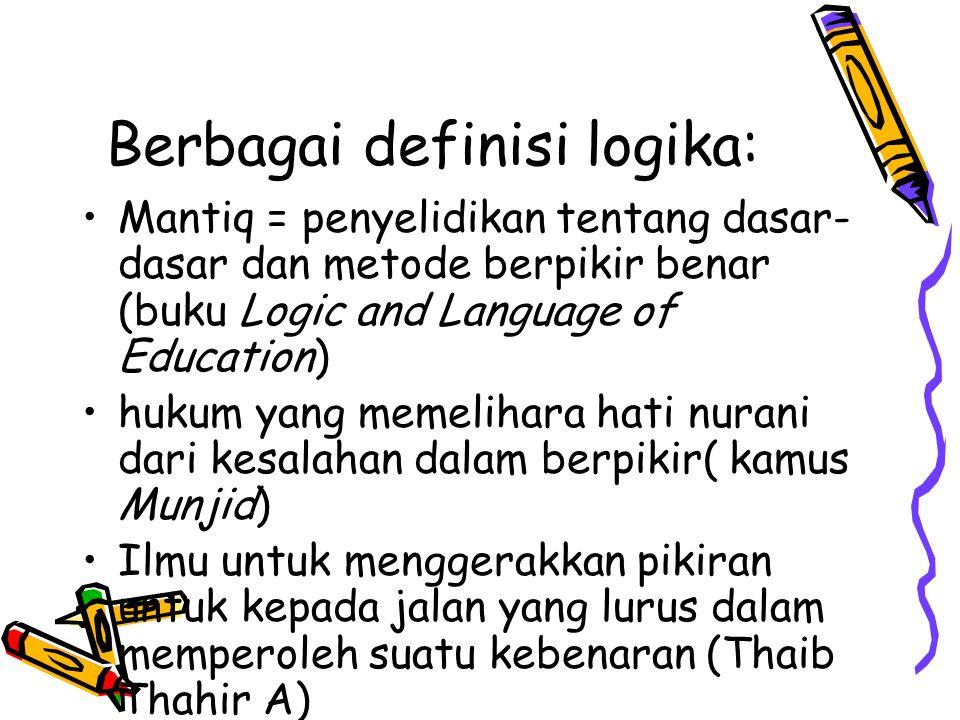 Berbagai definisi logika: