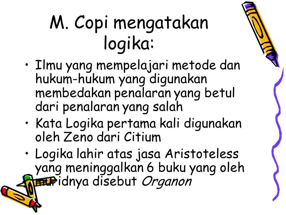 M. Copi mengatakan logika: