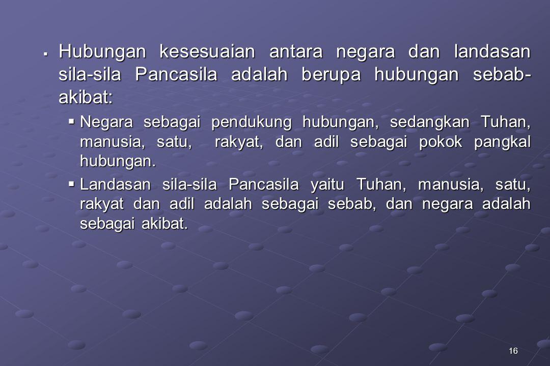 Hubungan kesesuaian antara negara dan landasan sila-sila Pancasila adalah berupa hubungan sebab-akibat: