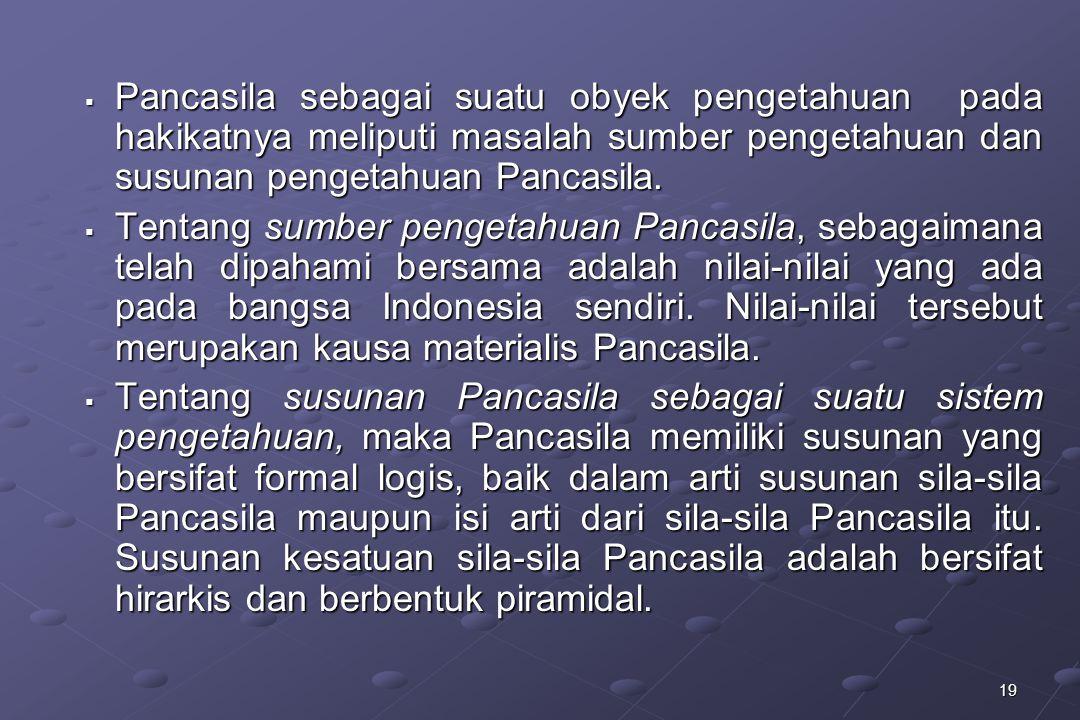 Pancasila sebagai suatu obyek pengetahuan pada hakikatnya meliputi masalah sumber pengetahuan dan susunan pengetahuan Pancasila.
