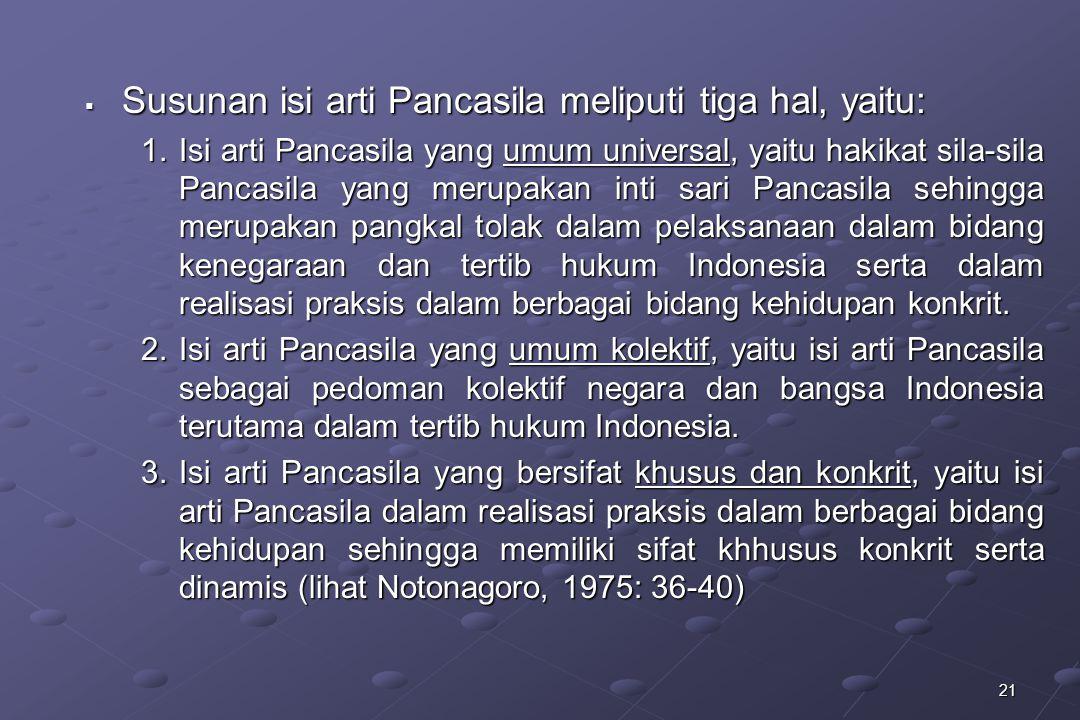 Susunan isi arti Pancasila meliputi tiga hal, yaitu: