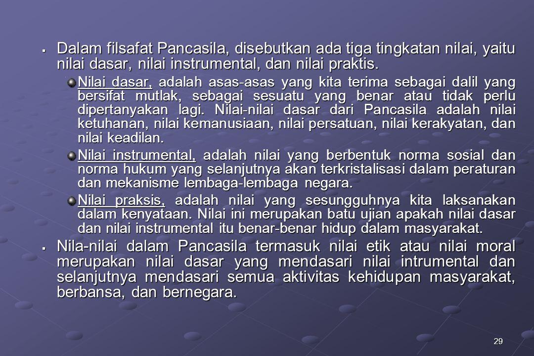 Dalam filsafat Pancasila, disebutkan ada tiga tingkatan nilai, yaitu nilai dasar, nilai instrumental, dan nilai praktis.