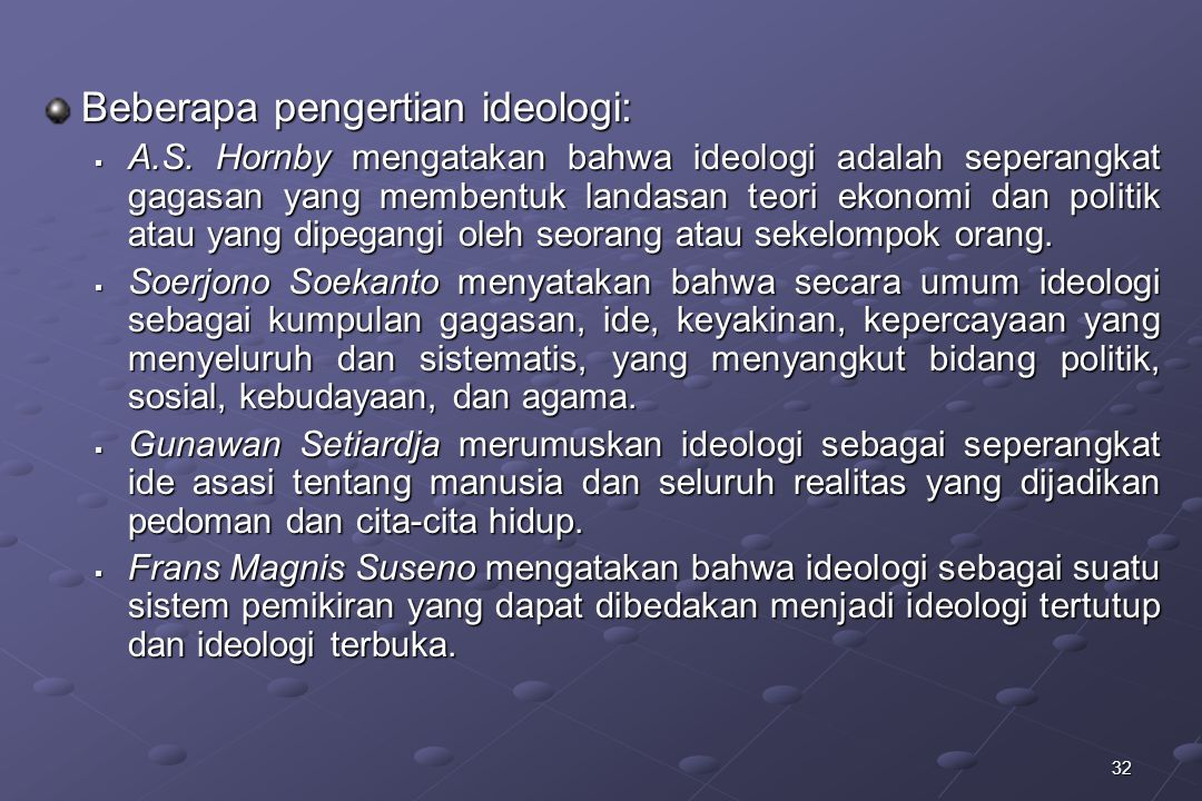 Beberapa pengertian ideologi: