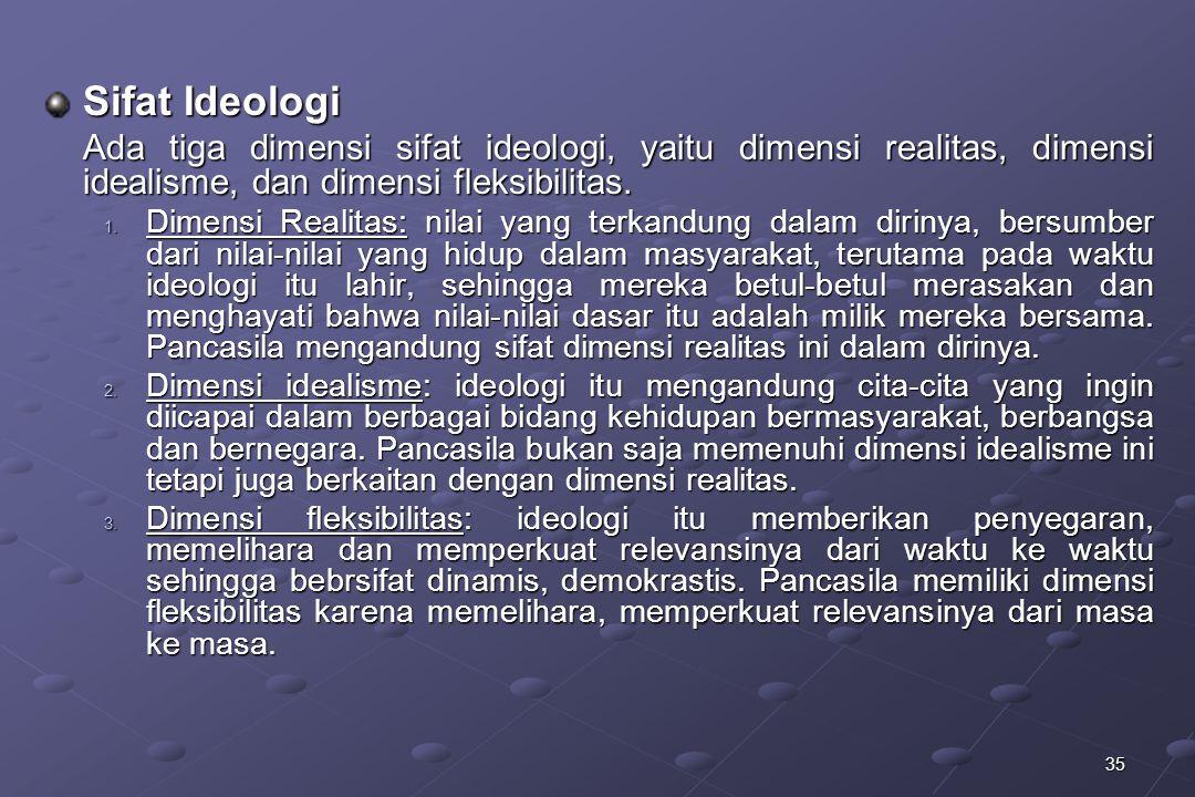 Sifat Ideologi Ada tiga dimensi sifat ideologi, yaitu dimensi realitas, dimensi idealisme, dan dimensi fleksibilitas.