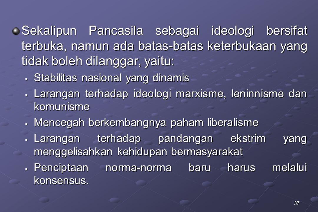Sekalipun Pancasila sebagai ideologi bersifat terbuka, namun ada batas-batas keterbukaan yang tidak boleh dilanggar, yaitu: