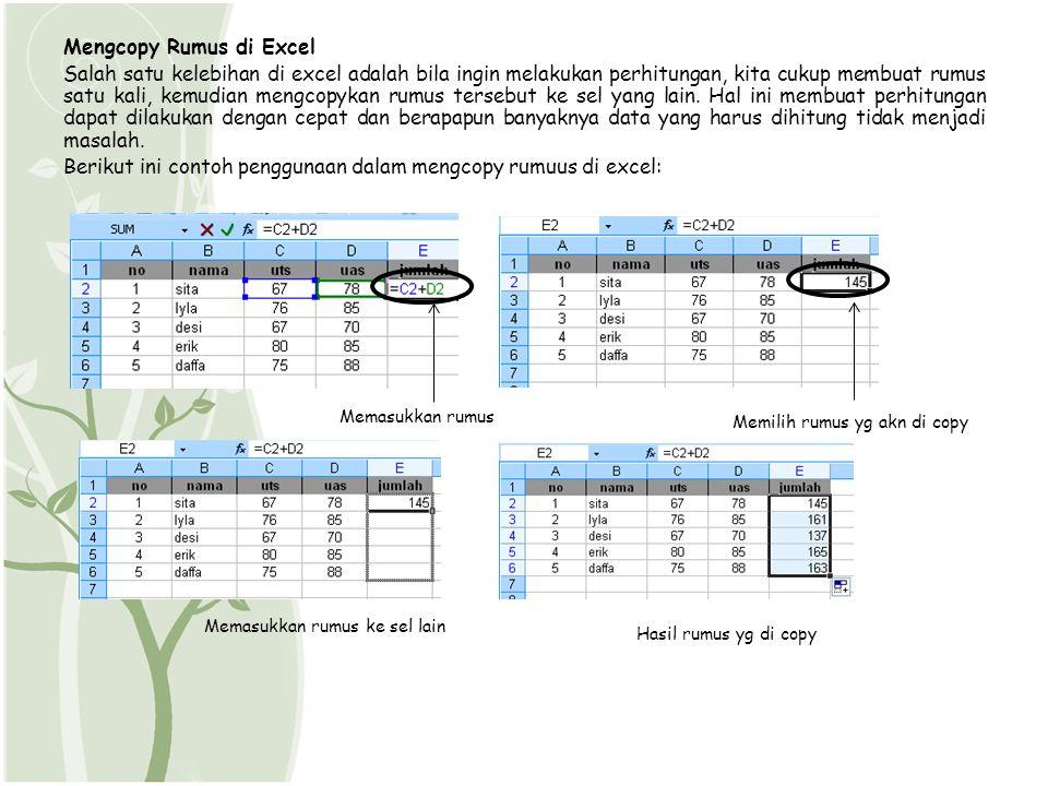 Mengcopy Rumus di Excel