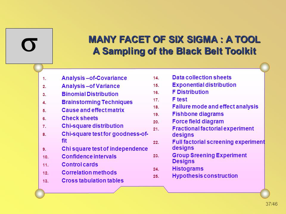 MANY FACET OF SIX SIGMA : A TOOL A Sampling of the Black Belt Toolkit