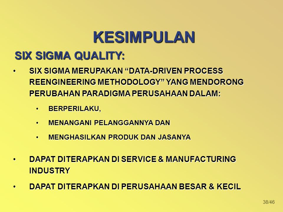 KESIMPULAN SIX SIGMA QUALITY: