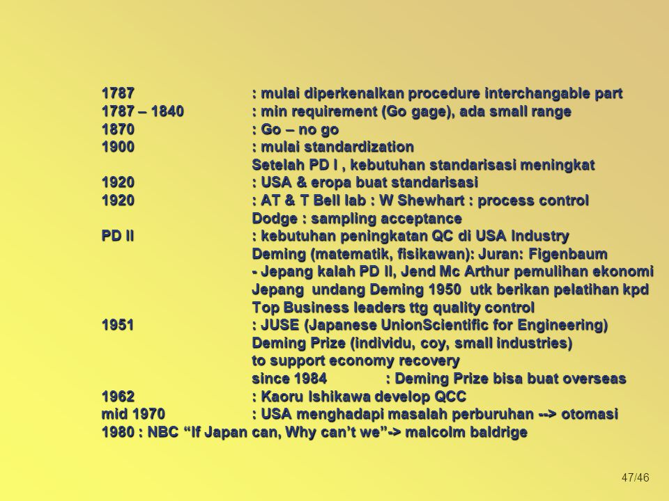 1787. : mulai diperkenalkan procedure interchangable part 1787 – 1840
