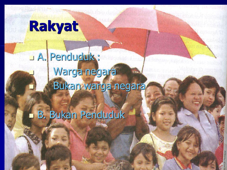 Rakyat A. Penduduk : Warga negara Bukan warga negara B. Bukan Penduduk