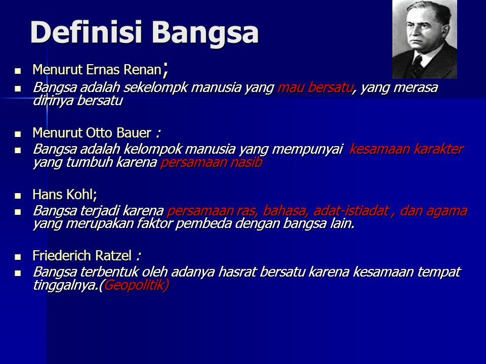 Definisi Bangsa Menurut Ernas Renan;