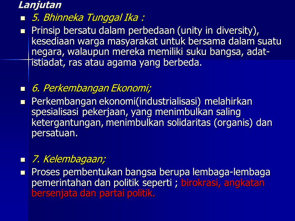 6. Perkembangan Ekonomi;