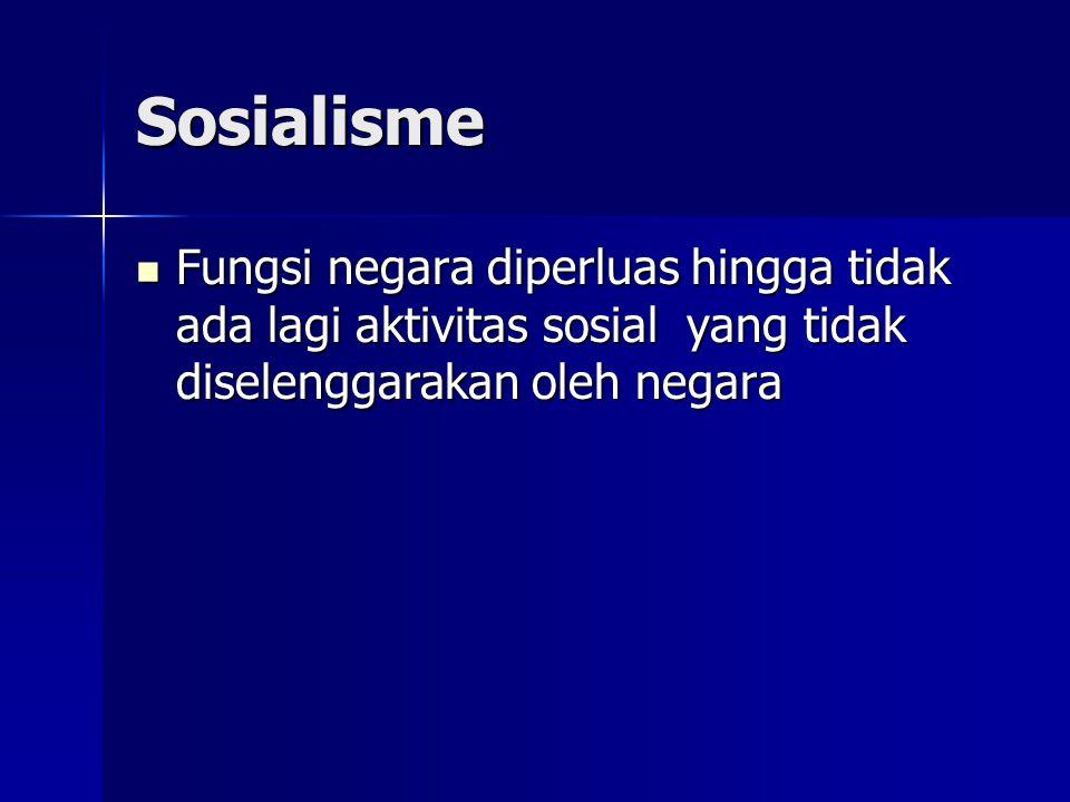 Sosialisme Fungsi negara diperluas hingga tidak ada lagi aktivitas sosial yang tidak diselenggarakan oleh negara.