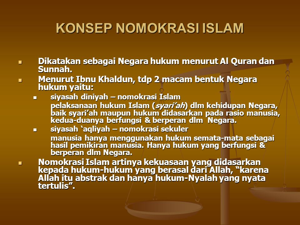 KONSEP NOMOKRASI ISLAM