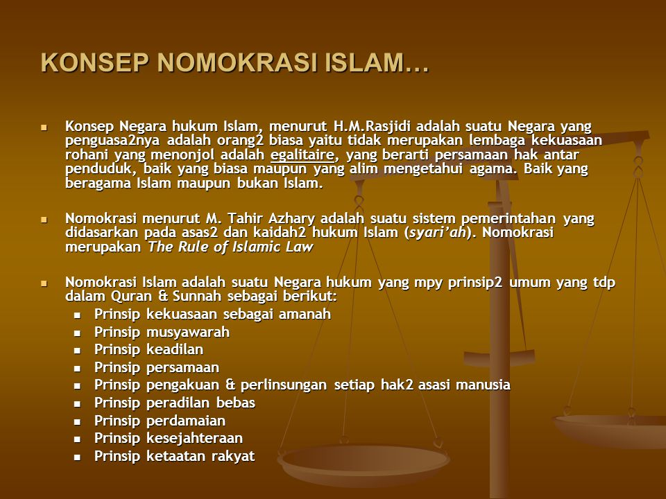 KONSEP NOMOKRASI ISLAM…